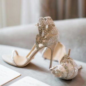 Open-toed rhinestones with ankle strap and buckle